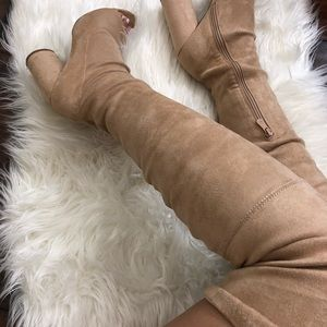 TAN FAUX-SUEDE THIGH HIGH BOOTS